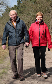 Eldery couple hiking